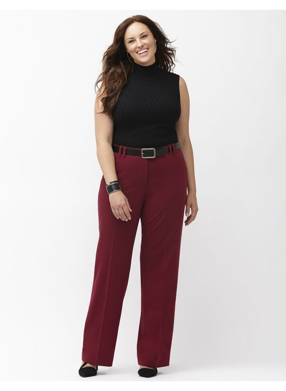 Lane Bryant 28 Lena Tailored Stretch Career Dress Pants Burgundy Tummy Tighter