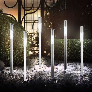 led 6 er set leuchte au enbeleuchtung terrasse licht solarleuchten garten lampe ebay. Black Bedroom Furniture Sets. Home Design Ideas