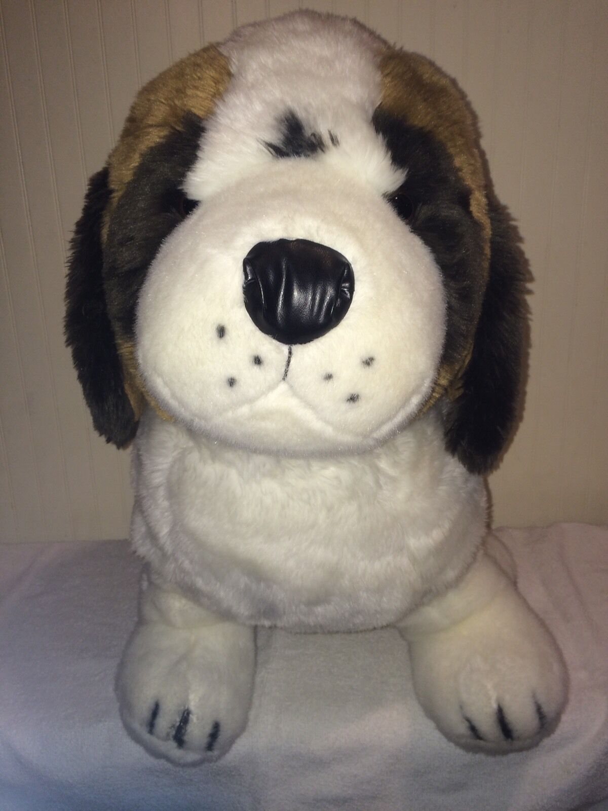 St. St Saint Bernard Dog Giant Plush Large 24  Stuffed marrone bianca Sitting Huge