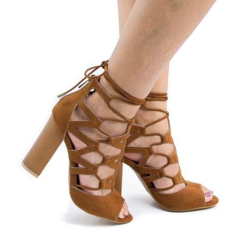 Bamboo Strappy Peep Toe High Chunky Heel #EMBARK-21