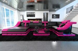 Eckcouch Luxus Sofa Turino U Led Beleuchtung Wohnlandschaft Leder