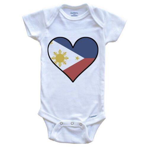 Philippines Baby Bodysuit Filipino Flag Onesie Cute Filipino Flag Heart