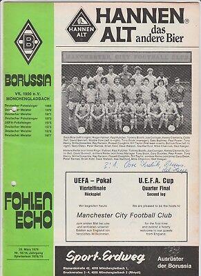 Aufstrebend Orig.prg Uefa Cup 1978/79 Bor.mÖnchengladbach - Manchester City 1/4 Finale