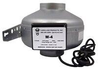"Tjernlund M-4 4"" 189 CFM Inline Fan Duct Booster Exhaust Blower w/current sensor"