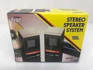 Vintage-Mini-Stereo-Speaker-System-Uni-tone-J-300-For-Portable-Cd-Player-walkman