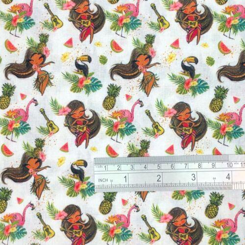 100/% Cotton Tropical Island Flamingo Bird Print Craft Fabric Material 140cm wide