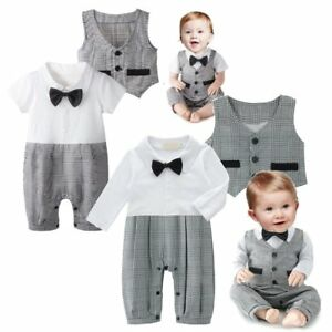Baby-Boy-Wedding-Christening-Tuxedo-Formal-Party-Suit-Outfit-Clothes-Waistcoat