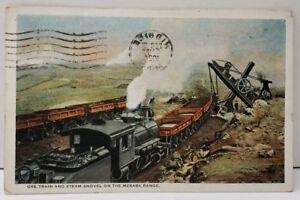 HIBBING-MINNESOTA-ORE-TRAIN-AND-STEAM-SHOVEL-ON-MESABA-RANGE-Postcard-E13