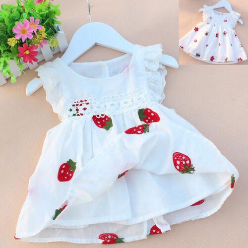 Sommer Baby Mädchen Prinzessin kleider Freizeit Blume Baumwolle Ärmellos Kinder