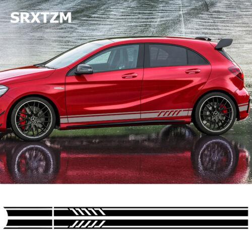 2pcs Car Auto Side Body Vinyl Decal Long Sport Stripe Sticker For Mercedes-Benz