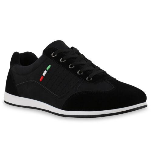 Herren Sneakers Sportschuhe Leder-Optik Schuhe Schnürer 814748 Trendy
