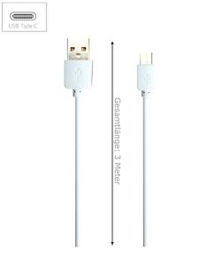 3-Meter-USB-Typ-C-USB-Ladekabel-fuer-Huawei-LG-OnePlus-und-Lumia-weiss-3m