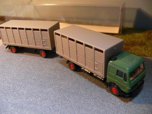 1//87 Wiking MB 1628 Verde Trasporto Bestiame-hängerzug 565 1 a