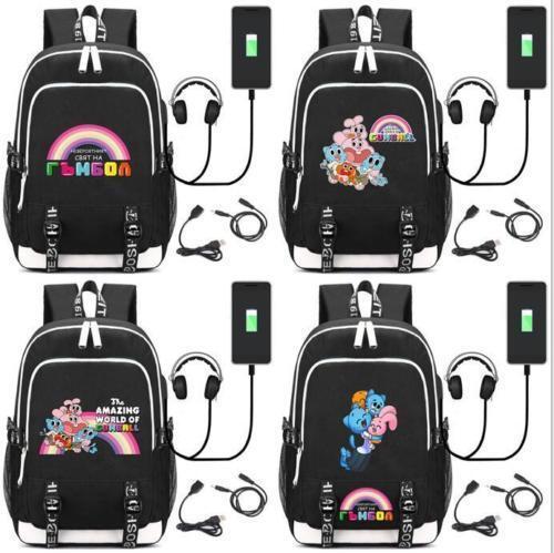 Amazing World of Gumball Backpack USB Charging Schoolbag Men