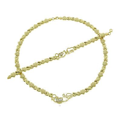 Bling Bling NY Womens 3 Tone Diamond Cut Hugs /& Kisses Necklace Bracelet XOXO Set 18 inches