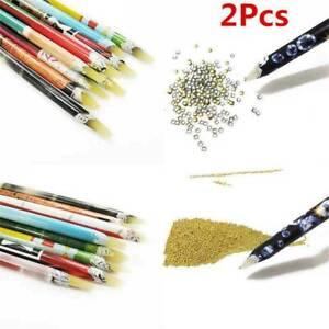 2-x-Wax-Picker-Pencil-For-Rhinestones-Gems-Crystals-Nail-Art-Tool