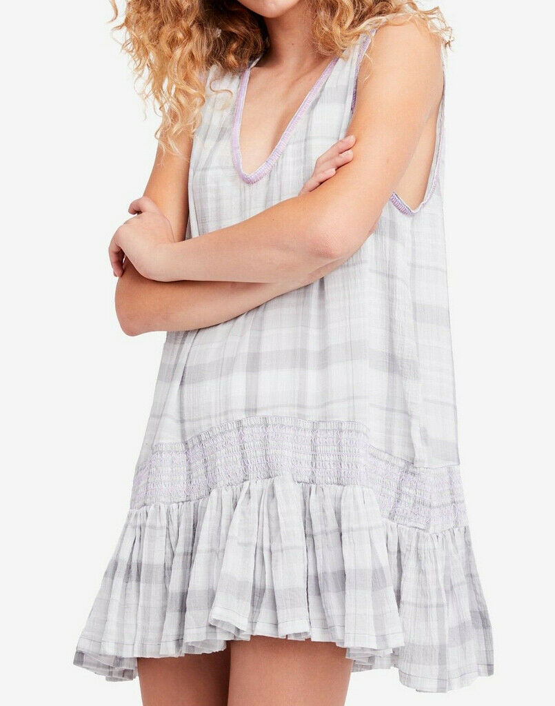 Free People damen Plaid OB770119 Embroiderot Dress Neutral Combo grau Größe XS