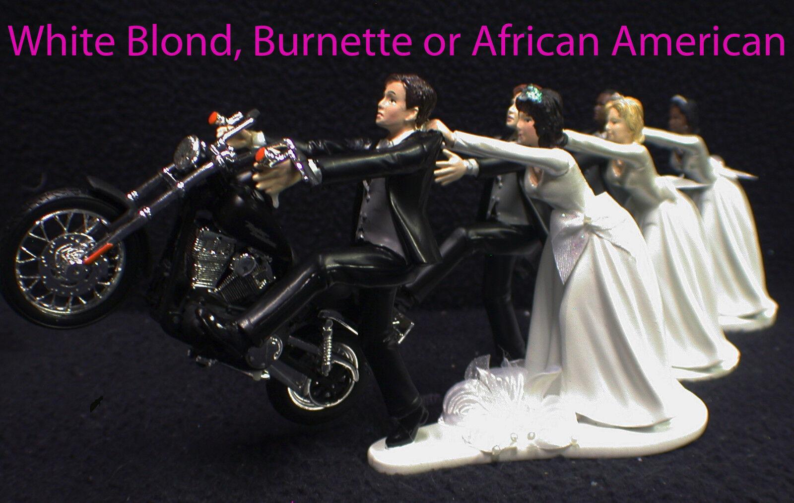 Wedding Cake Topper Avec Harley Davidson Moto Noir Blanc hispanique GROOM TOP