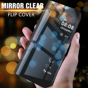 For-Samsung-Galaxy-A7-2018-Smart-Clear-View-Mirror-Flip-Stand-Leather-Case-Cover