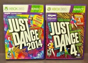 Just-Dance-4-2014-XBOX-360-2-GAME-Dance-Kinect-Required-Lot-Tested-Complete