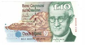 IRELAND-10-Punt-UNC-Banknote-1993-P-76a-BCJ-Prefix-Doyle-Cromien-Signature