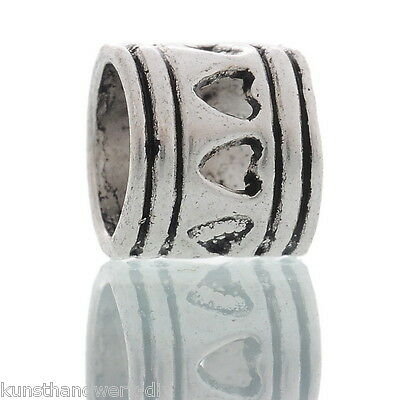 50 European Antiksilber Herz Tube Spacer Perlen Beads  FL