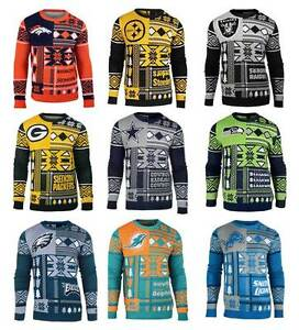 more photos 0d5d1 6fdd1 Details about NFL UGLY SWEATER Crew Neck Patches Team Logo Sweatshirts  Officially Licensed NWT