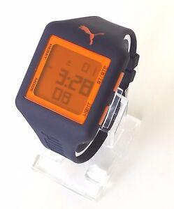 Details zu Puma Herren Uhr Slide blau lila orange Silikon Digital Datum PU910791009