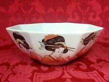 Vintage 1976 Fitz & Floyd FF Asian Porcelain Geisha Girls Octagon Serving Bowl