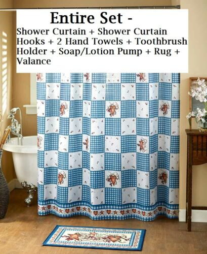 Hearts /& Stars Farmhouse Bath Collection Basket Weave Country Red White /& Blue