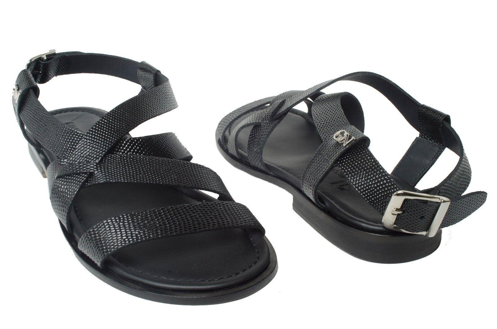 GIAMPIERONICOLA 3720 3720 3720 Italian schwarz lizard printed leather sandals w back strap cd743e