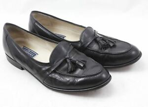 Bostonian-Florentine-Tasseled-Black-Leather-Men-039-s-Loafers-Shoes-Sz-9-5-N-Italy