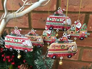 Image Is Loading Set Of 6 Metal Camper Van Truck Christmas