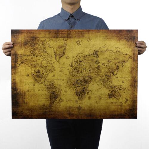 Antique Treasure World Map Kraft Paper Poster Artwork Bar Coffee ...