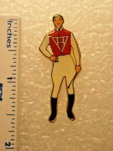 Vintage Santa Anita Park Jockey Pin Red Silks Collectible