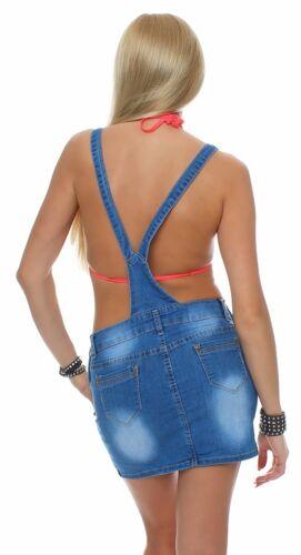10704 Jeansskirt Jeansrock Minirock Trägern Latzrock Rock Jeans Blau 5 Größen