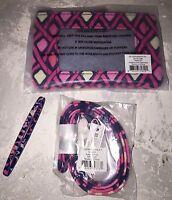 Vera Bradley Zip Id Case & Lanyard Badge Key Ring Katalina Pink Diamonds
