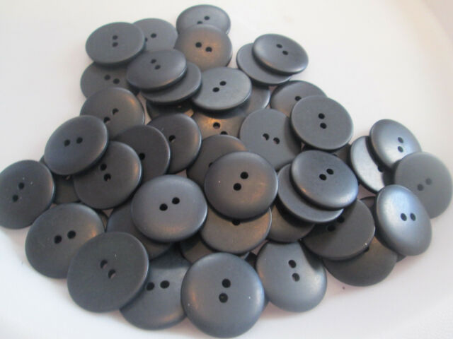 LOT OF 55 BLACK 7/8 INCH 2 HOLE BUTTONS, NEW