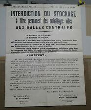 AFFICHE ANCIENNE HALLES DE PARIS INTERDICTION DU STOCKAGE EMBALLAGES 1949