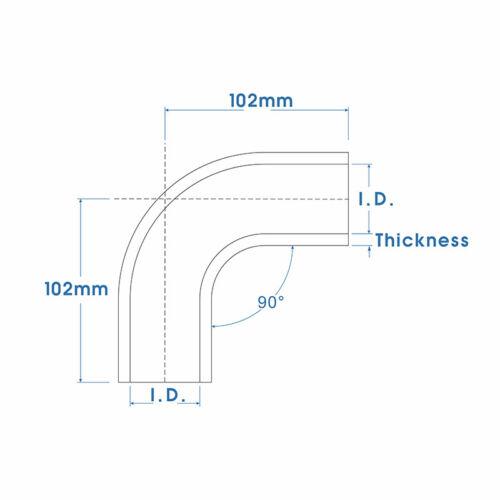"5/"" ID 127mm 90 Degree Elbow Hose Silicone Intake Intercooler Pipe Black"