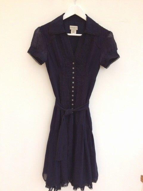 Karen Milen Victorian Bib lila Silk Shirt Dress S 8 36