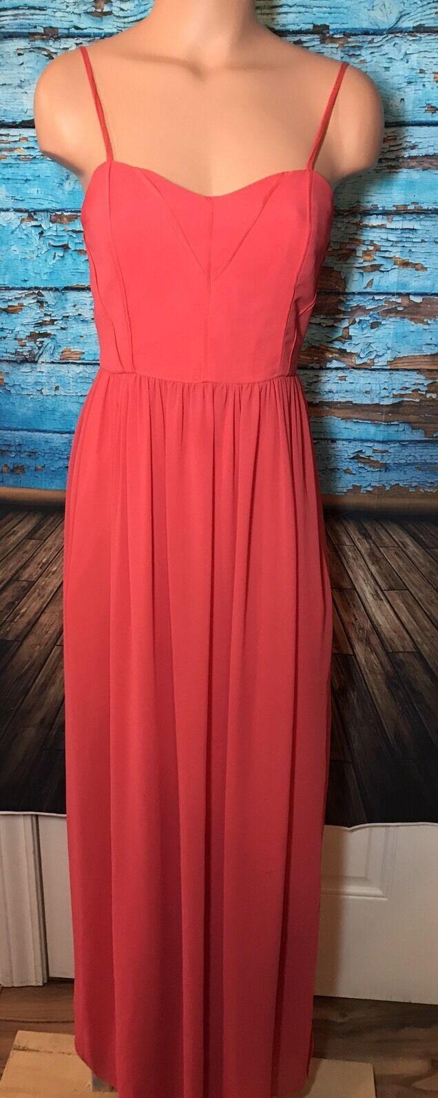 BCBGeneration damen's Sz 4 Dress Bodice Side Slit Flowy Maxi Long Melon Gown