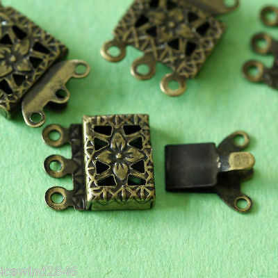 5pcs Antique Bronze Rectangle Filigree Box Hinge Clasp for Three Strands