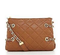 Authentic Michael Kors Susannah Leather Messenger Bag W/metal Chain, Brown
