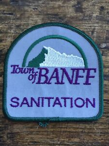 Vtg-Town-Of-Banff-Sanitation-3-Embroidered-Sew-On-Patch-Alberta-Canada-AB-Badge