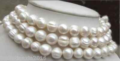 "Long 25/"" 36/"" 54/"" 72/"" Natural 10-11MM white freshwater Cultured pearl necklace"