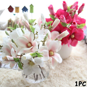 New-Artificial-Fake-Flowers-Leaf-Magnolia-Floral-Wedding-Bouquet-Home-Decor