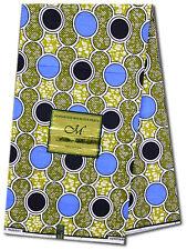 African Fabric Ankara~Blue & Black Circle ~UK Imported Wax Print, 6 Yd MX307