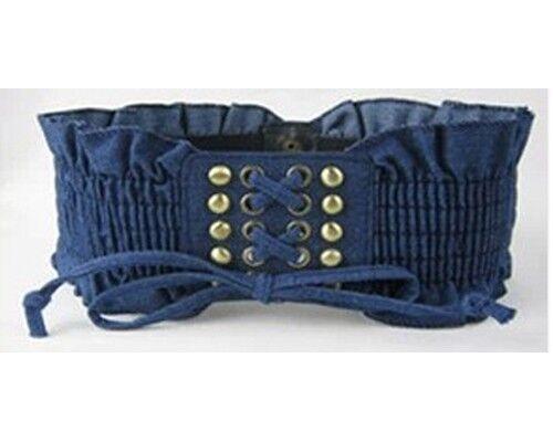 Schwarz // Blau Damen Mode Denim Niet Quasten Elastische Strecken Taillengürtel