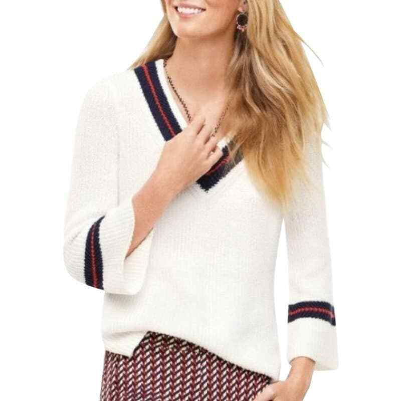 Cabi Ace Varsity Preppy V Neck Rib Knit Sweater S - image 1